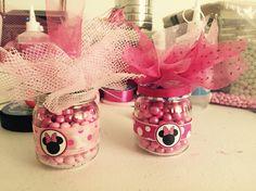 Botes de gerber con dulces para fiesta de minnie mouse