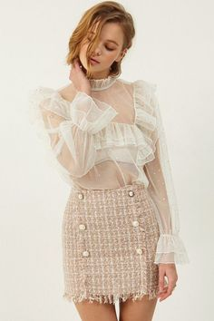 Selma Dot Ruffle Mesh Blouse >>Discover the latest fashion trends online a… Fashion Mode, Look Fashion, Womens Fashion, 50 Fashion, Fashion Styles, Fitness Fashion, Cheap Fashion, Fashion Rings, Fashion News