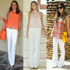 """#ShareIG B o m D i a!  Calça branca #flare (alfaiataria ) + blusa sem manga e saltos!  Para curtir essa quarta-feira no trabalho ou na """"rua"""".... Vamos de que?  1, 2 ou 3?l  1- @mirceiaramos 2- @luisa_accorsi 3- @thassianaves  #garimpandodicas #lookdetrabalho #oodt #calçafkare #style"""