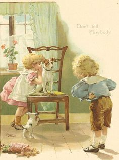 "ERNEST NISTER (1842-1909) . Antique Victorian 1897 Ernest Nister print- ""Don't tell Anybody""."