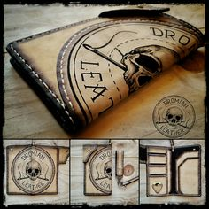 Tattooed leather long wallet Long Wallet, Leather Working, Paracord, Leather Products, My Favorite Things, Knots, Ideas, Leather, Bag