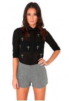 Alina Tailored Tweed Shorts-shorts-missguided