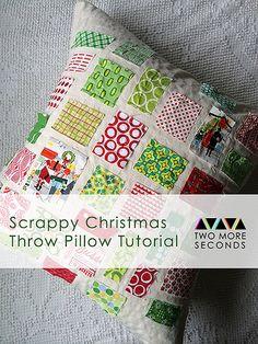 Scrappy Christmas Throw Pillow
