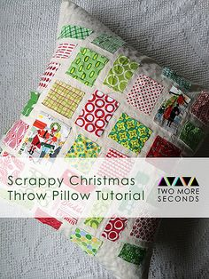 Scrappy Christmas Throw Pillow Tutorial for the Bake Craft Sew Along!