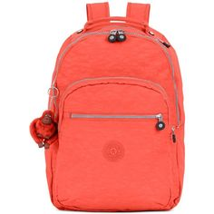 Kipling Seoul Backpack (5,515 PHP) ❤ liked on Polyvore featuring bags, backpacks, tomato red, red laptop bag, kipling backpack, kipling bags, kipling and laptop backpack