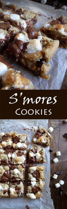 Too far from the campfire this weekend? S'mores cookies will curb your craving with graham cracker crumbs, toasted brown marshmallow, and gooey chocolate. Brownie Desserts, Oreo Dessert, Mini Desserts, Coconut Dessert, Dessert Bars, No Bake Desserts, Delicious Desserts, Yummy Food, Baking Desserts
