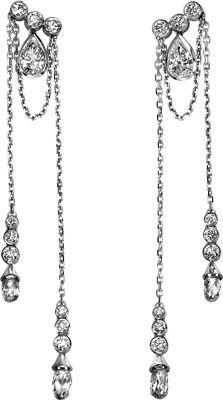 Limelight Paris inspiration earrings in 18K white gold, set with briolette-cut diamonds, pear-cut diamonds and brilliant-cut diamonds.  $ 68,000