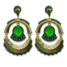 Abida Green Cultural Indian Earrings available on www.vmfashion.com