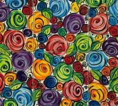 Mary Rose's handpainted multi-coloured rosebush design available on 6 inch (150mm)tiles! Though the raw tiles are bought in, they still have the same quality of colour and glaze that Mary Rose is known for. Tiles can be bought individually and used to hi
