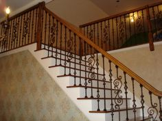 Astonishing Home Interior And Exterior Design With Various Handrail: Interesting Picture Of Home Interior Decoration Idea Using Solid Light Oak Wood Handrail Including Black Wrought Iron Staircase Spindles And Solid Cherry Wood Staircase Steps ~ fendhome.com Accessories Inspiration
