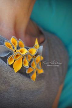 Felt/necklace/modern/romantic/flowers/Jewelry/wedding/spring/yellow by MargoHupert, $47.00
