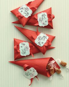 Baby Shower Ideas: Caramel-filled paper cones make sweet and festive party favors.