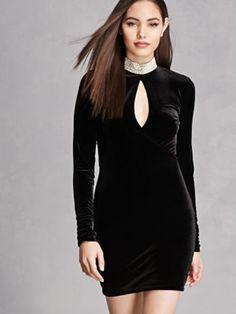 Designer Clothes, Shoes & Bags for Women Bodycon Cocktail Dress, Bodycon Dress, Choker Dress, Rhinestone Choker, Printed Tees, Forever 21 Dresses, High Neck Dress, Dress Long, My Girl