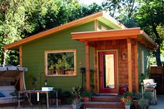 Guesthouse Plan 890-2 - 320 sq. ft. micro-cottage includes an L-shaped kitchenette and a full bath: the main space combines living and sleeping. The design works a studio.and as a backyard cottage.