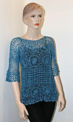 Denim Blue Crochet Motifs Lace Top by CasadeAngelaCrochet on Etsy, $105.00