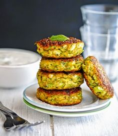 zucchini patties - very tasty.  I made with 1tbsp tumeric instead of cumin. Also, I peeled and de-seeded as I'm on a low fibre diet.  Makes about 8 patties for me