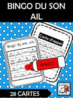 BINGO DU SON AIL (French Sound Bingo) Le bingo du son est un jeu qui permet aux élèves d'identifier les sons de façon amusante et engageante. C'est un excellent petit ajout aux centres de littératie (alphabétisation.) Core French, French Class, Teaching French, Learn French, Sons, Boutique, Learning, Activities, French Classroom