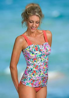 8cb7cb525fc64 Ruched Bandeau - Sunrise Coral Garden Flowers Floral Tankini, Floral  Swimsuit, Bandeau Tankini,