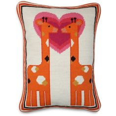 "Jonathan Adler Kissing Giraffe Needlepoint Decorative Pillow, 12"" x... ($165) ❤ liked on Polyvore featuring home, home decor, throw pillows, orange multi, giraffe home decor, orange home decor, orange toss pillows, velvet accent pillows and orange throw pillows"