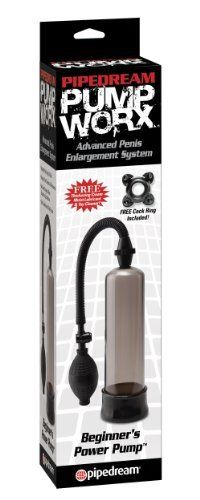 Pipedreams Products Pump Worx Beginner's Power Pump, Black by Pipedreams Products. Save 11 Off!. $14.23. The clear vacuum tubes allow you to watch your cock grow, and the quick-release valve relieves pressure with a push of the button.. To prolong ejaculation, slide the included enhancement ring over your shaft so that it's nice and snug.. Lube and toy cleaner included. The beginner power pump will give you the size and confidence you' have always dreamt about without any harmful side ef...