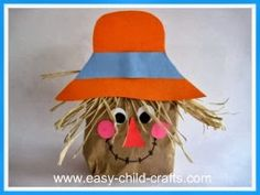 cute paper bag scarecrow craft Pinterest