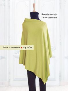Pure cashmere poncho / Cashmere poncho / Women poncho / Poncho / Cape / Pure cashmere / Light olive / Women / Ready to ship Cashmere Poncho, Knitwear, Cover Up, Tunic Tops, Pure Products, Trending Outfits, Sweaters, How To Wear, Etsy