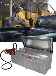RDS Auxiliary Fuel Tank/Tool Box Combo - not sure if I will have room for this but it would be nice for extended overland trips. Truck Tools, Truck Tool Box, Covered Rv Storage, Car Storage, Toy Trucks, Pickup Trucks, Truck Accesories, Car Trailer, Trailers
