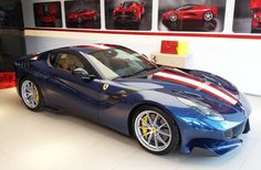 """276 curtidas, 7 comentários - Ferrari Cannes (@ferrari_cannes_officiel) no Instagram: """"Today delivery: one of the latest #ferrari F12 TDF with beautiful spec. Blue Tour de France with…"""" Ferrari F12 Tdf, Ferrari F12berlinetta, F12 Berlinetta, Racing Stripes, Latest Gadgets, Car Photography, Car Manufacturers, Shabby Chic Furniture, Autos"""