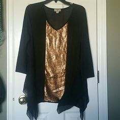 Gorgeous Sequin tunic top Brand new without tags. 3/4 length sleeves, sheer fabric, uneven cut at bottom. V neck with gold sequin stripe down middle. Says petite on tag and I never noticed before, but is not super short by any means. Perfect for night out. Definitely a unique tunic live and let live Tops Tunics
