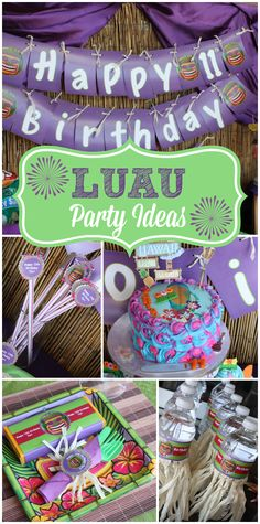 This gorgeous purple and green Hawaiian Luau party has water bottles with grass skirts and festive party decorations! See more party ideas at CatchMyParty.com!