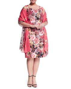 Dolcetto+Floral-Print+Sheath+Dress+W/+Sleeves+&+Sara+Foulard+Scarf,+Women\'s+++by+Marina+Rinaldi+at+Neiman+Marcus.