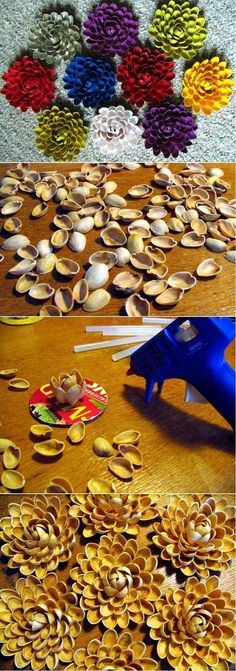 Pistachio shell flowers. | @Betsy Buttram Brown Thanksgiving craft?
