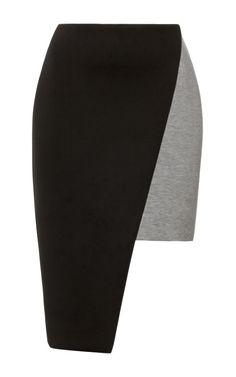 Shop Color-Block Asymmetrc Neoprene Skirt by Josh Goot Now Available on Moda Operandi
