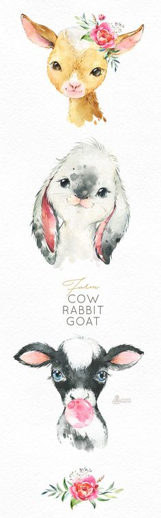 Watercolor little animals clipart, calf, baby goat bunny, country, flowers kid Watercolor Images, Watercolor Animals, Watercolor Painting, Watercolors, Images Of Cows, Baby Animals, Cute Animals, Draw Animals, Baby Posters