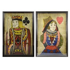 Set of Two Silk Screen Prints: King of Clubs & Queen of Hearts | From a unique collection of antique and modern decorative art at http://www.1stdibs.com/furniture/wall-decorations/decorative-art/