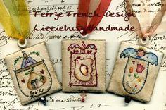 Kit primitive stitchery angels necklaces by lizziebusyhandmade