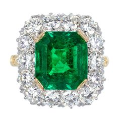 Art Deco Diamond And Emerald Engagement Ring Diamond Cluster Ring, Emerald Diamond, Diamond Rings, Emerald Cut, Emerald Green, Diamond Ice, Emerald Gemstone, I Love Jewelry, Jewelry Rings