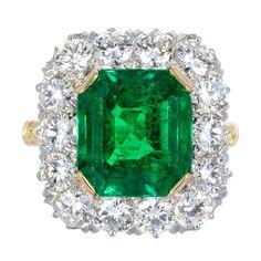 Art Deco Diamond And Emerald Engagement Ring Diamond Cluster Ring, Emerald Diamond, Diamond Rings, Emerald Cut, Emerald Green, Emerald Gemstone, I Love Jewelry, Jewelry Rings, Jewellery