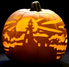 carved lighthouse pumpkin