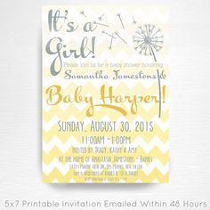 Dandelion Baby Shower Party Printable Invitation YOU Print Yellow Chevron Gender Neutral Shower