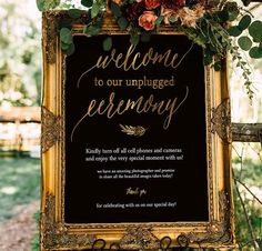 Unplugged Wedding, Gold Unplugged Wedding Sign, Unplugged Ceremony Sign, Black and Gold Unplugged Si Wedding Mirror, Wedding Frames, Wedding Signs, Fall Wedding, Our Wedding, Wedding Gold, Wedding Ideas, Wedding Bells, Wedding Stuff