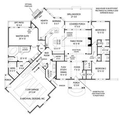 First Floor Plan of Ranch House Plan 72168. LOVE the bathroom set up for the other bedrooms