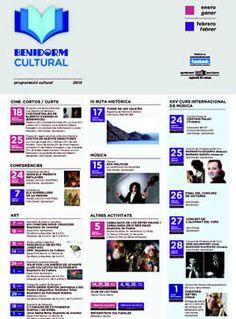 Agenda Cultural de Benidorm (Enero y Febrero 2013) Agenda Cultural, Culture, January, Live, Day Planners