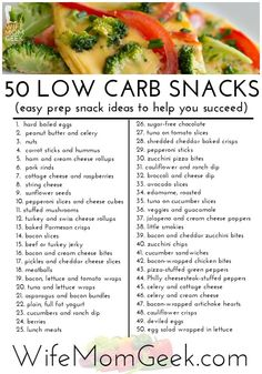 Carb Snack Ideas 50 Easy Prep Low Carb Snack Ideas - These are so good you won't want to cheat! NOT all are low carb.be Easy Prep Low Carb Snack Ideas - These are so good you won't want to cheat! NOT all are low carb.be careful Menu Fast Food, Low Carb Recipes, Healthy Recipes, No Carb Foods, Low Gi Foods, Salt Free Recipes, Healthy Snacks List, Snack Recipes, Wrap Recipes
