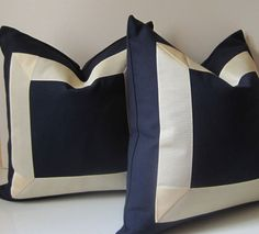 Set of Two - Navy and Cream Pillows - 18 inch - Decorative Pillows - cotton fabric with cream ribbon embellishment - ready to ship via Etsy
