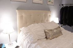 Affordable Tufted Headboard with foam core board from Dollar Tree.