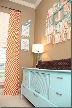 orange and aqua nursery with letter wall, babies initial framed-- easy to change to next baby's initial