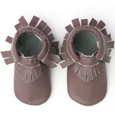 100% Leather Moccs in Brown in newborn-24 month sizes
