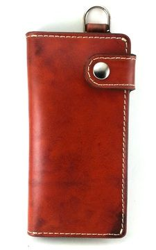Saddle Tan Chain Wallet with cream lining and cream stitching