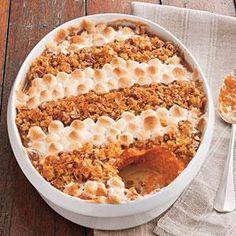 Cornflake, Pecan, and Marshmallow-Topped Sweet Potato Casserole Recipe | MyRecipes.com